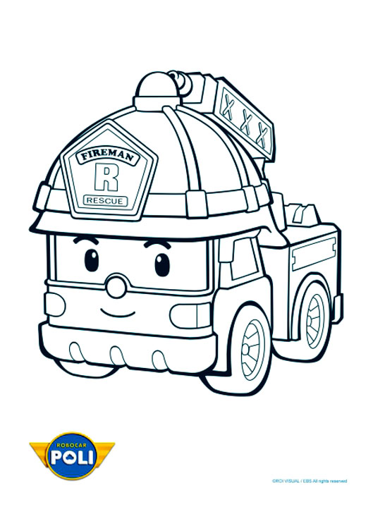 Printable Robocar Poli coloring page to print and color for free