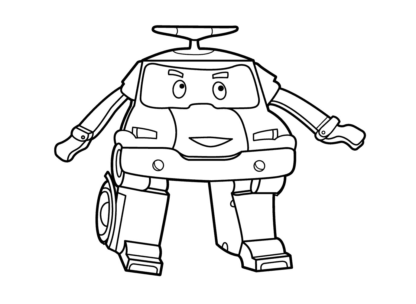 Easy free Robocar Poli coloring page to download