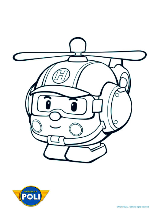 Funny free Robocar Poli coloring page to print and color