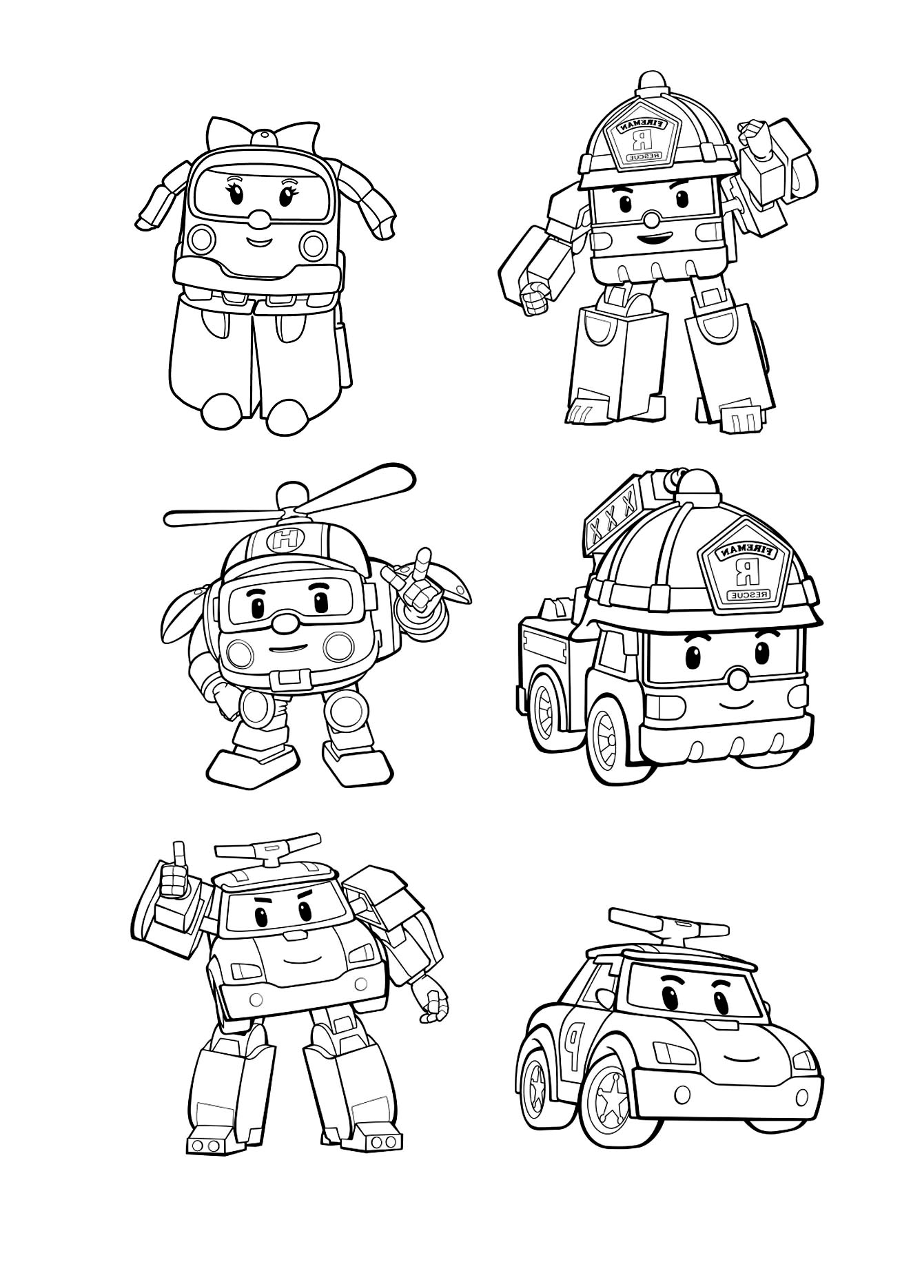 Funny Robocar Poli coloring page for kids