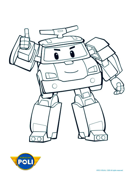 Simple Robocar Poli coloring page to print and color for free