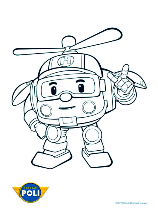 Simple Robocar Poli coloring page for kids
