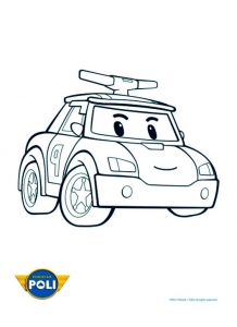 Coloring page robocar poli to color for kids