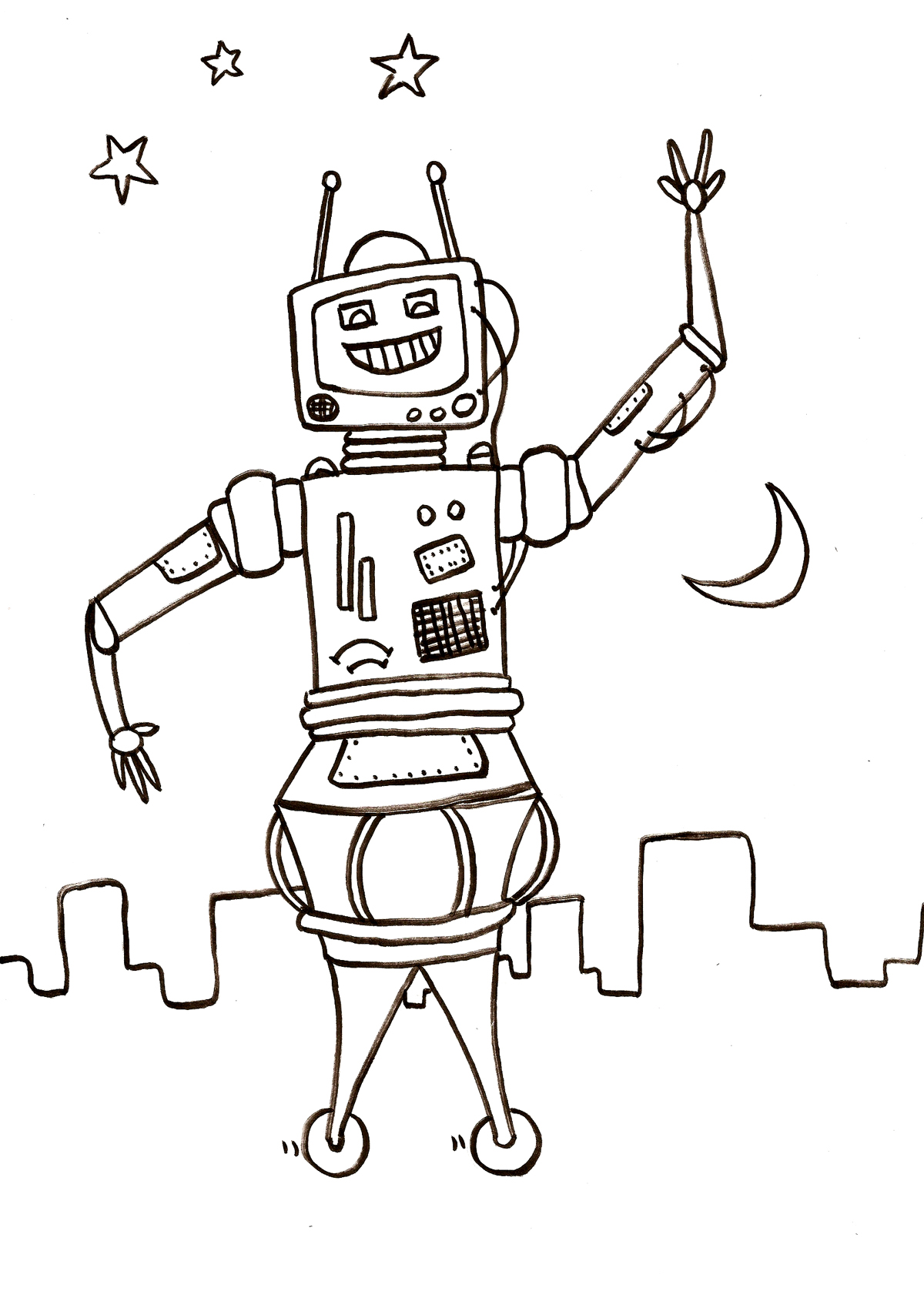 Free Robots coloring page to print and color, for kids