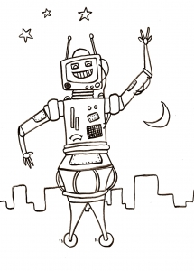 Coloring page robots free to color for kids