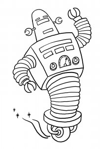 Coloring page robots to color for children