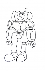 Coloring page robots to color for kids