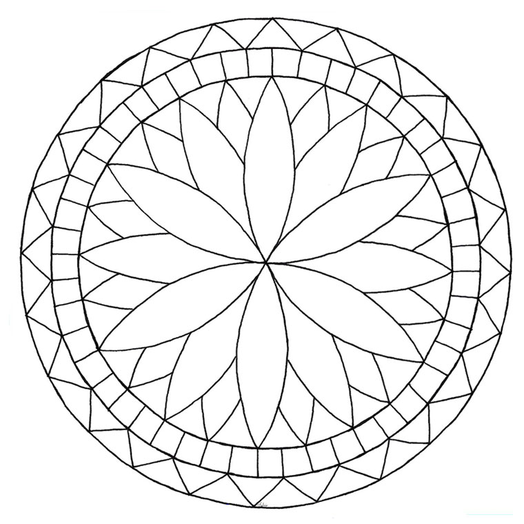 Simple Rosettes coloring page to print and color for free