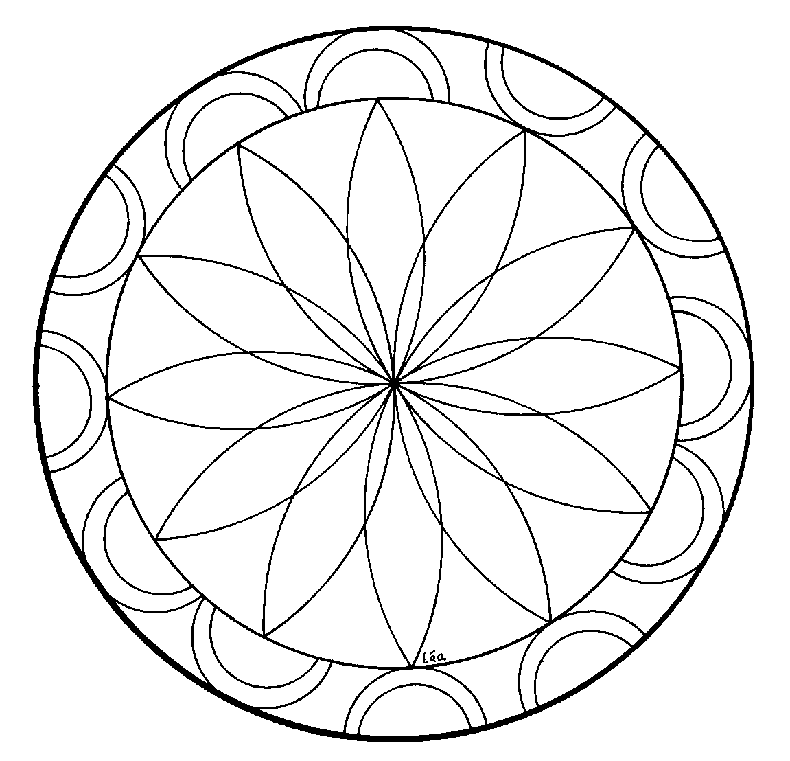 Simple Rosettes coloring page for kids