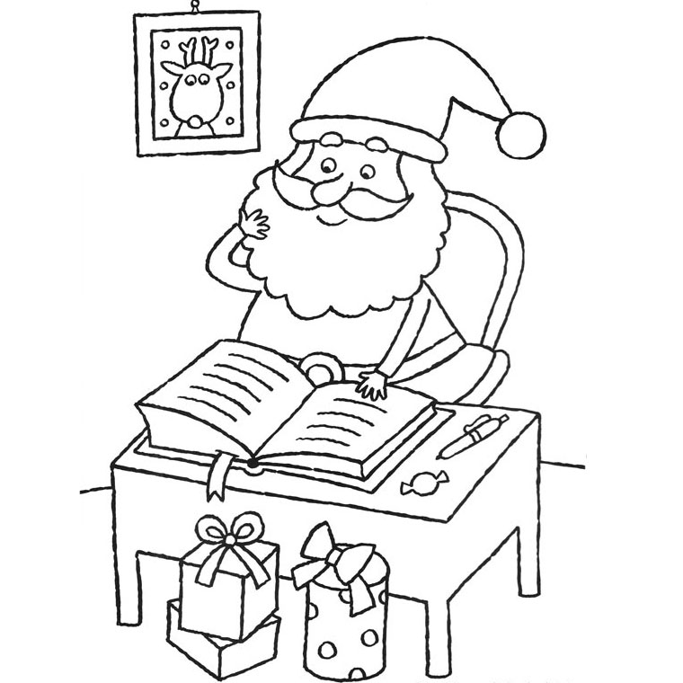 Beautiful Santa Claus coloring page to print and color