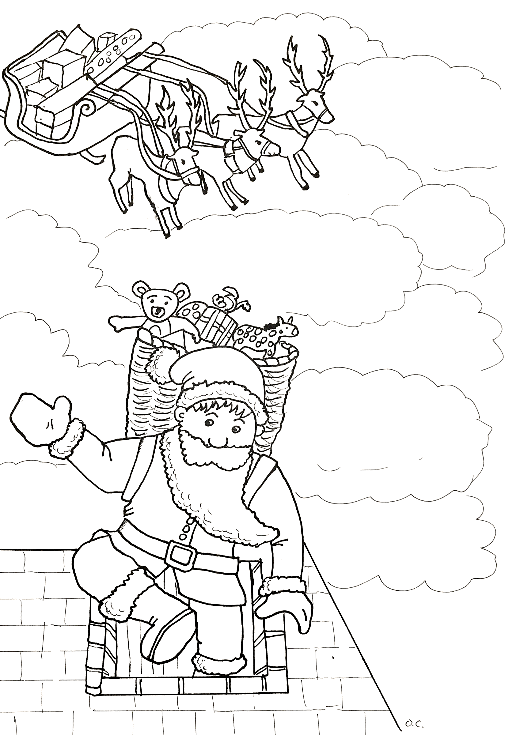 Santa Claus coloring page with few details for kids