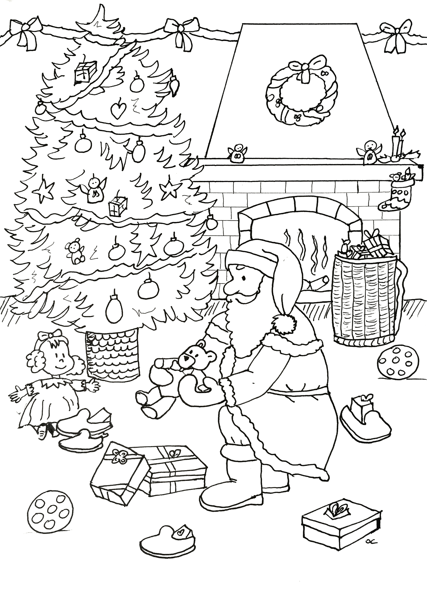 Santa Claus coloring page to print and color for free