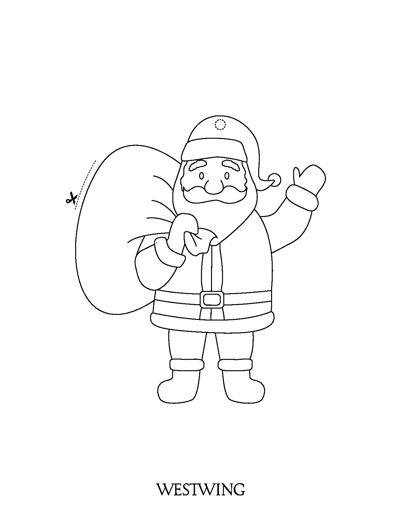 Easy free Santa Claus coloring page to download