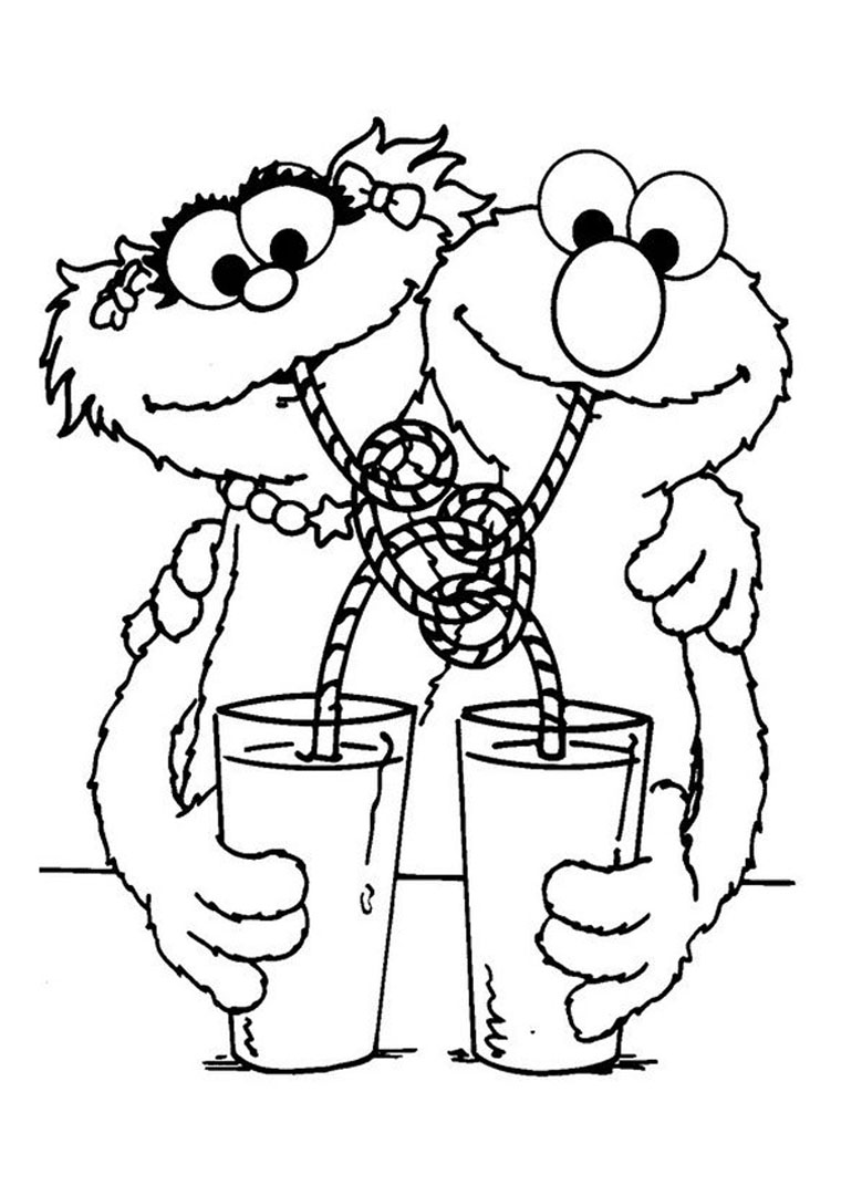 Simple Sesame Street coloring page to print and color for free