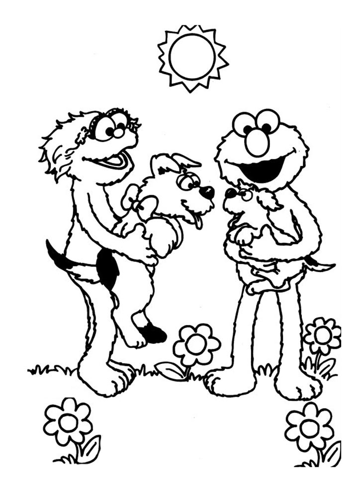 Simple Sesame Street coloring page for kids