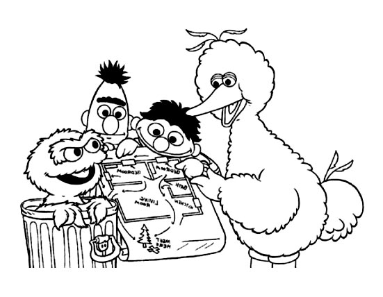 Funny free Sesame Street coloring page to print and color