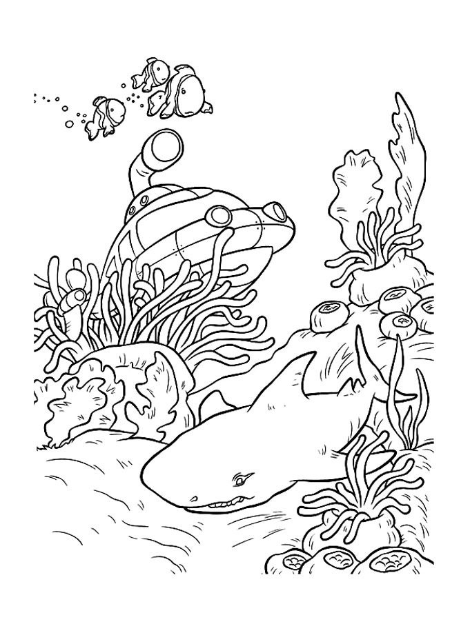 Simple Sharks coloring page