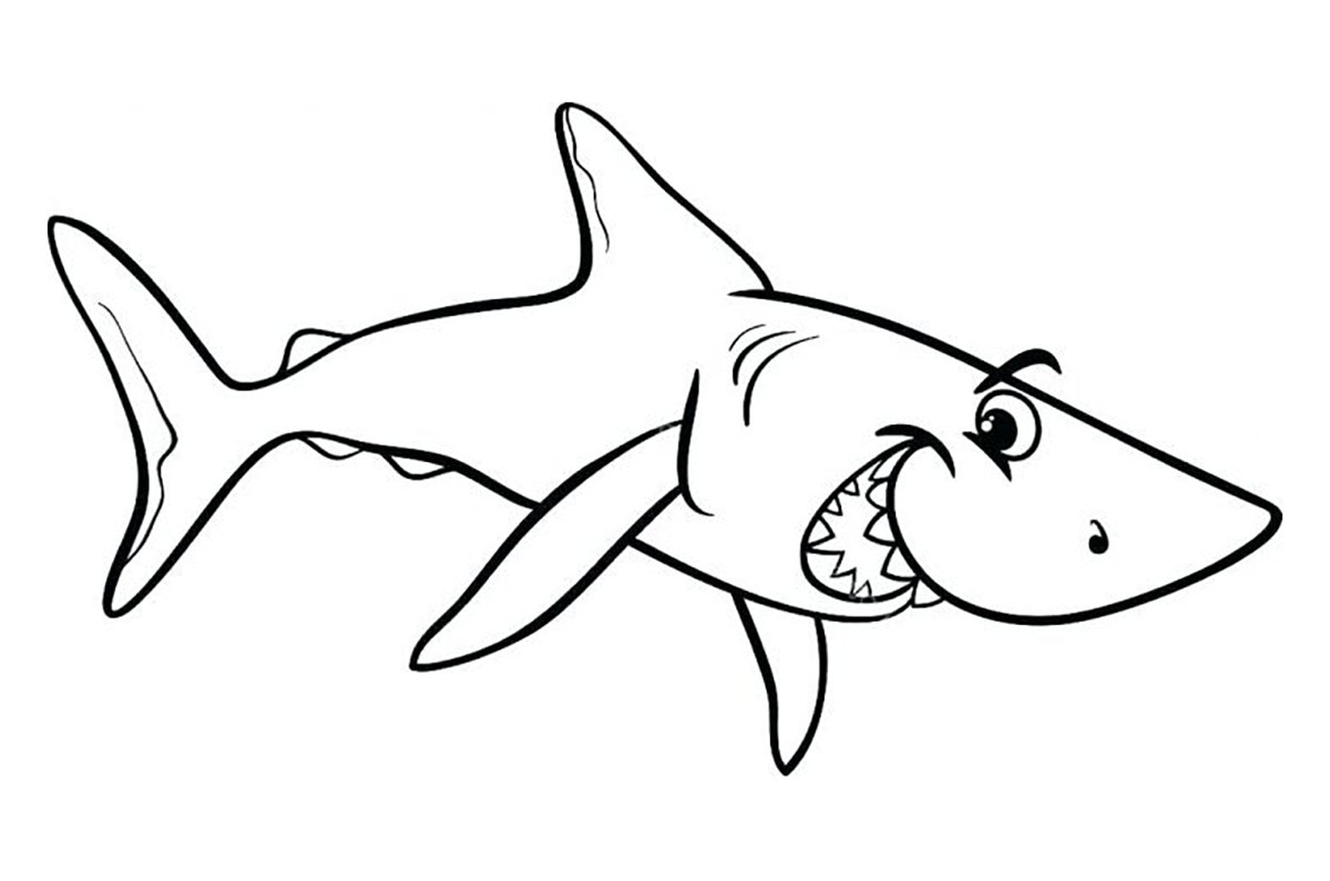 Simple Sharks coloring page to download for free