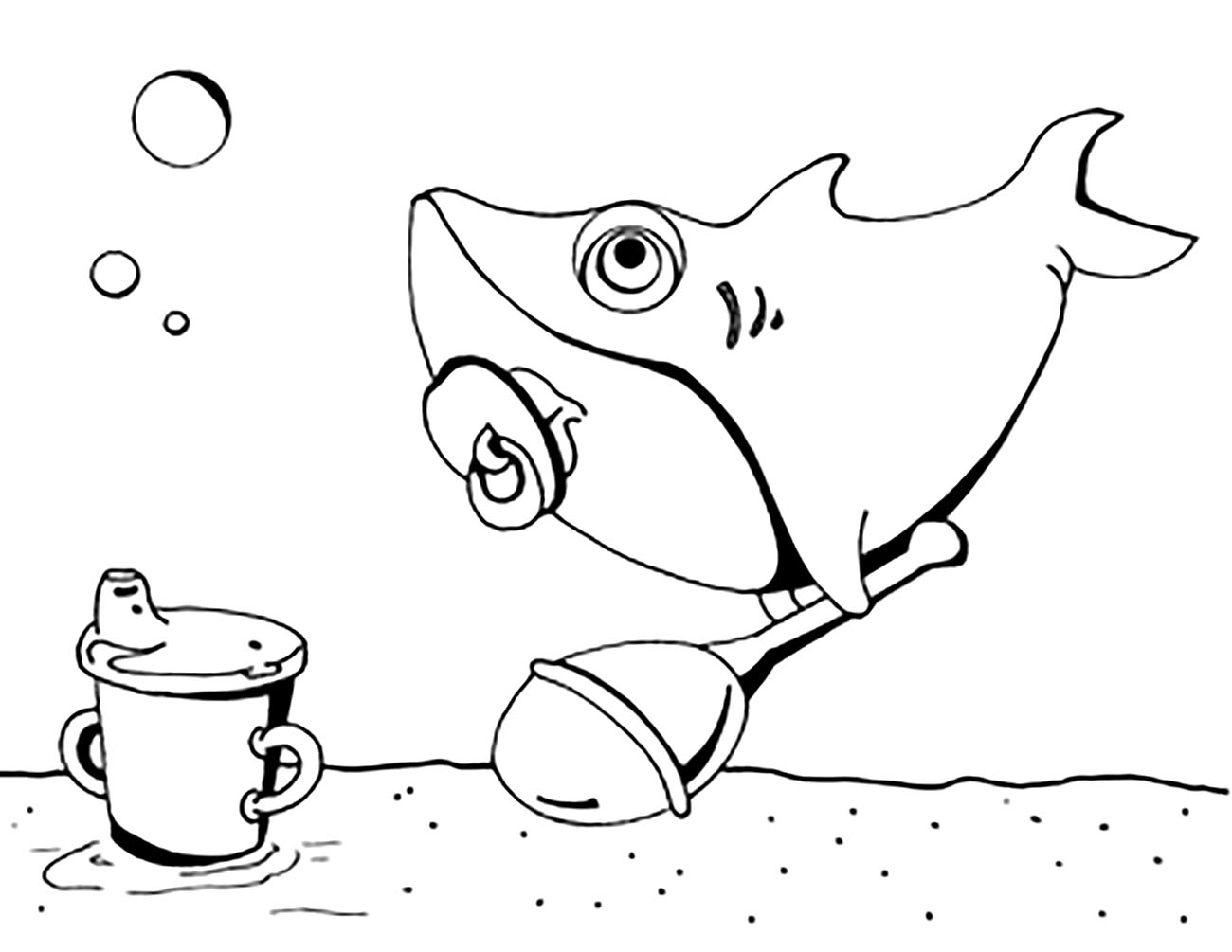Free Sharks coloring page to print and color, for kids