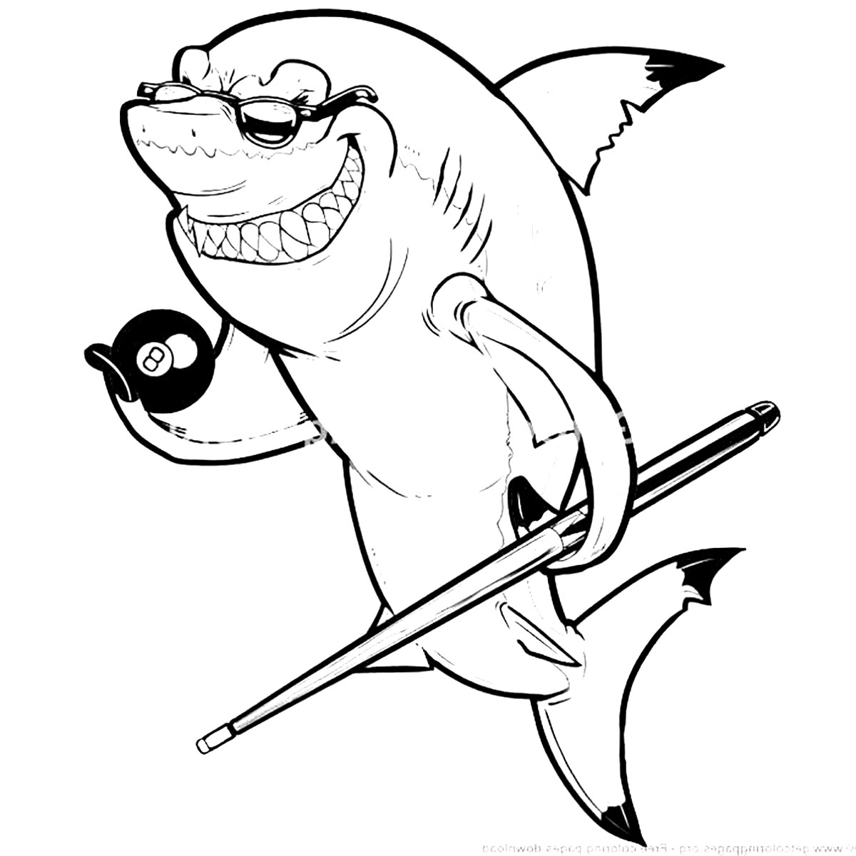 Incredible Sharks coloring page to print and color for free