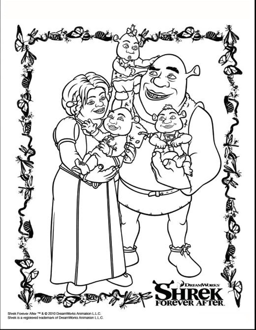 Simple free Shrek coloring page to print and color