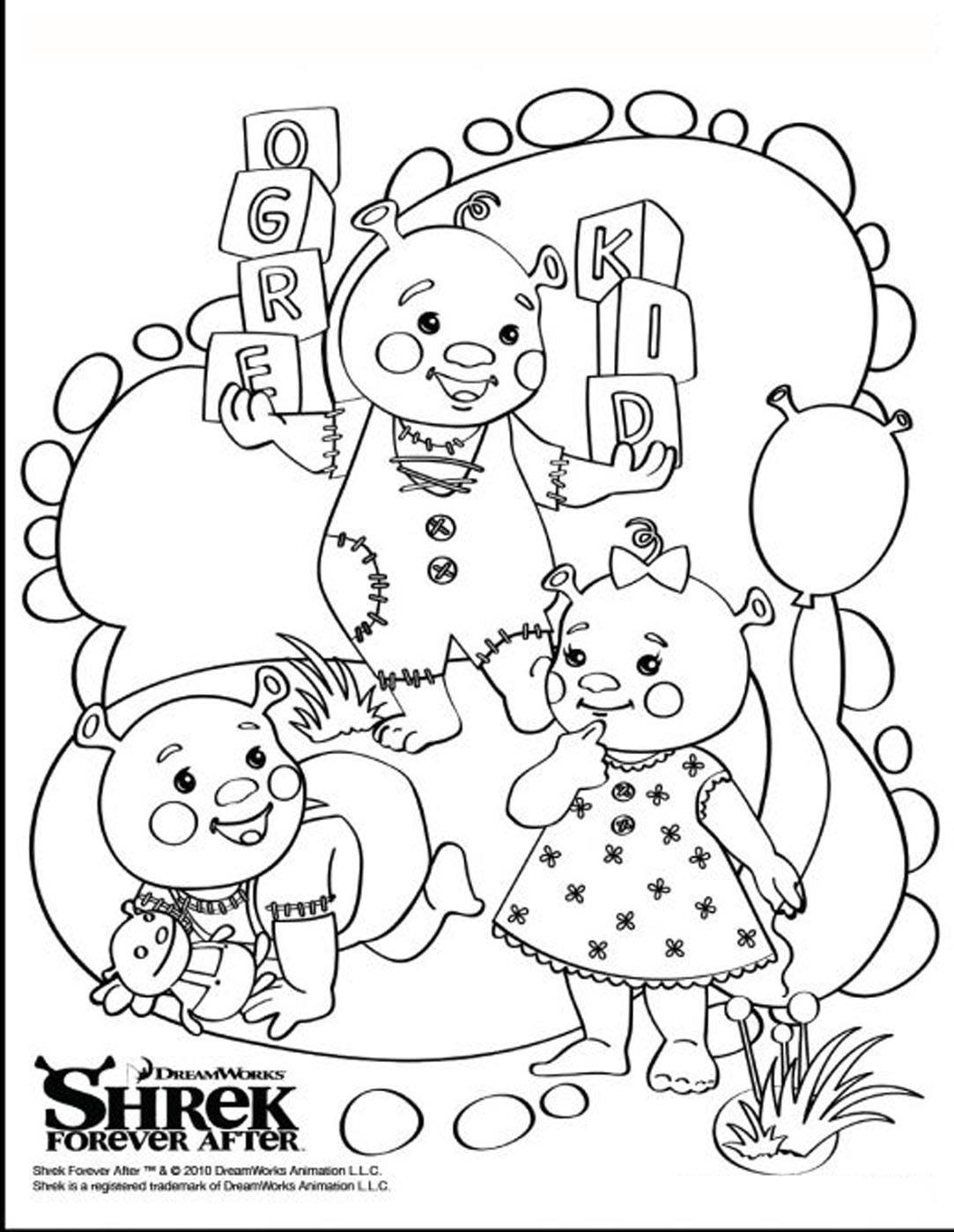 Simple Shrek coloring page to download for free
