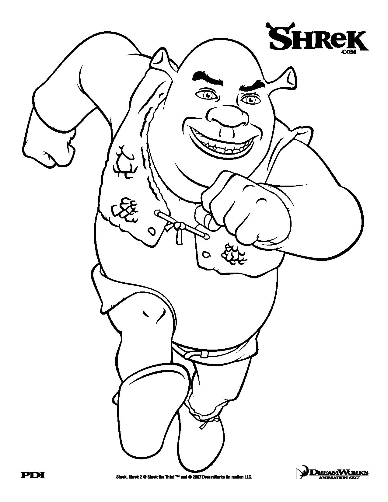 Funny Shrek coloring page for children