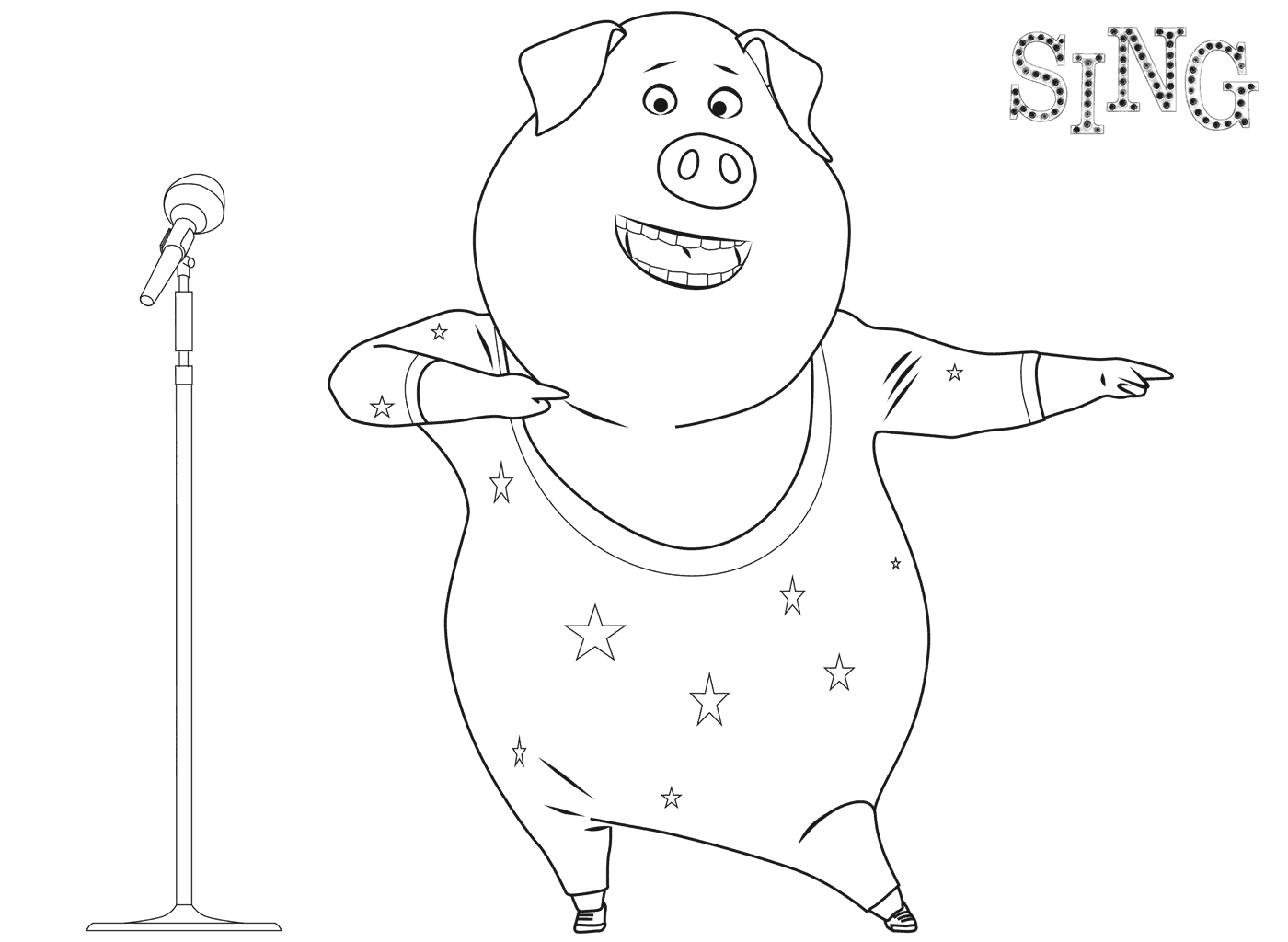 Free Sing coloring page to download