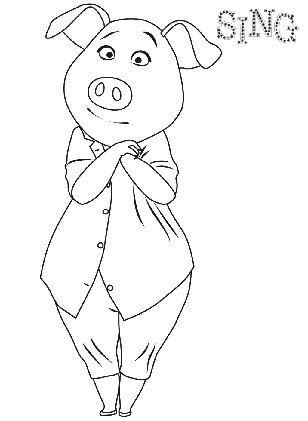 Beautiful Sing coloring page to print and color
