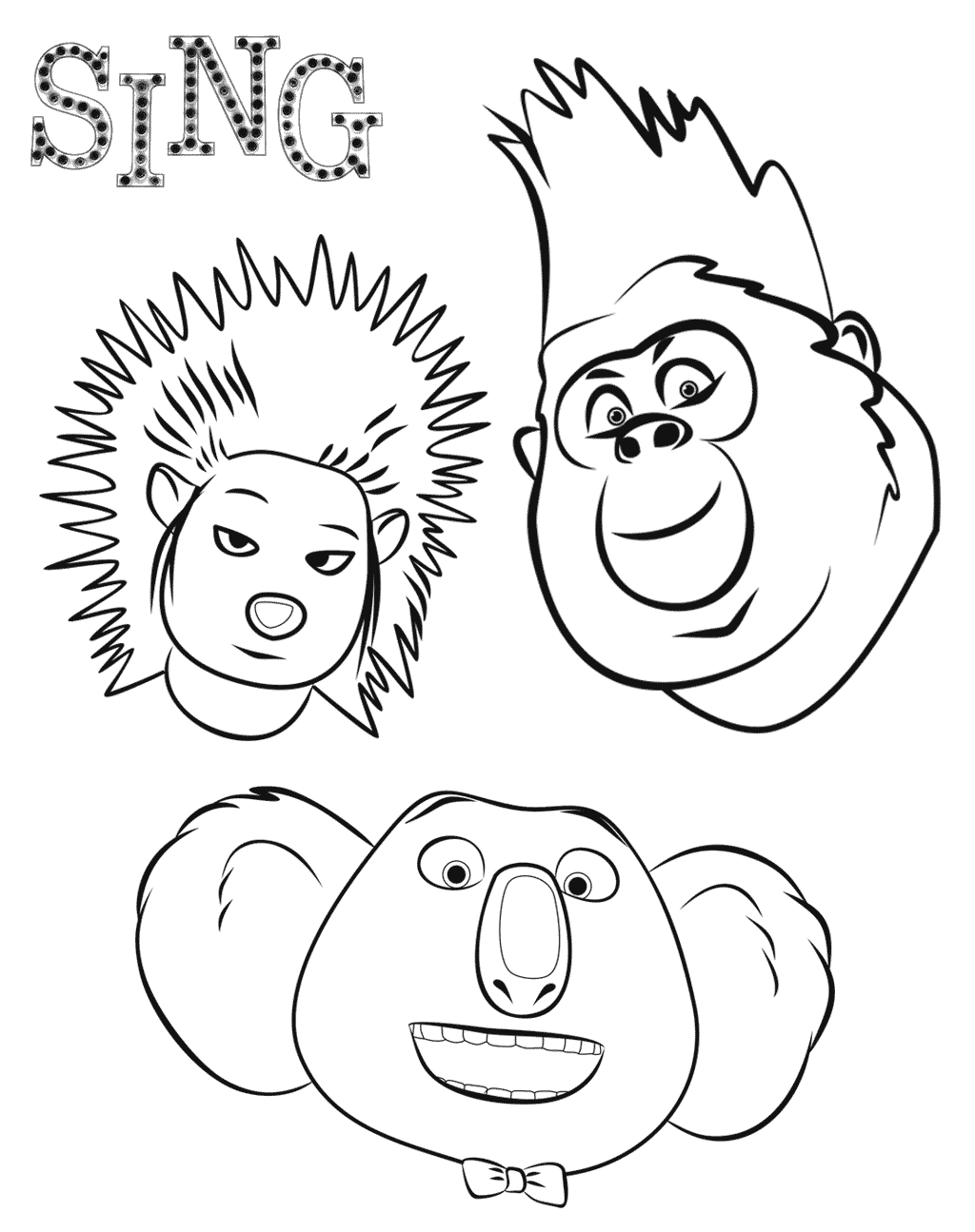 Free Sing coloring page to print and color