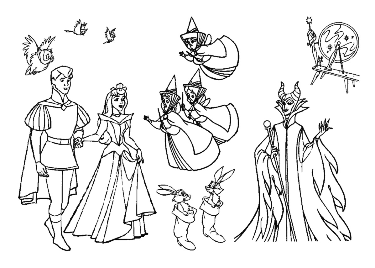 Cute free Sleeping beauty coloring page to download