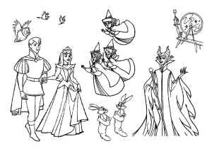 Coloring page sleeping beauty to color for children