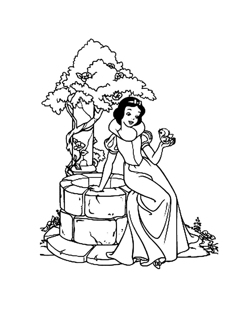 Free Snow White coloring page to download, for children