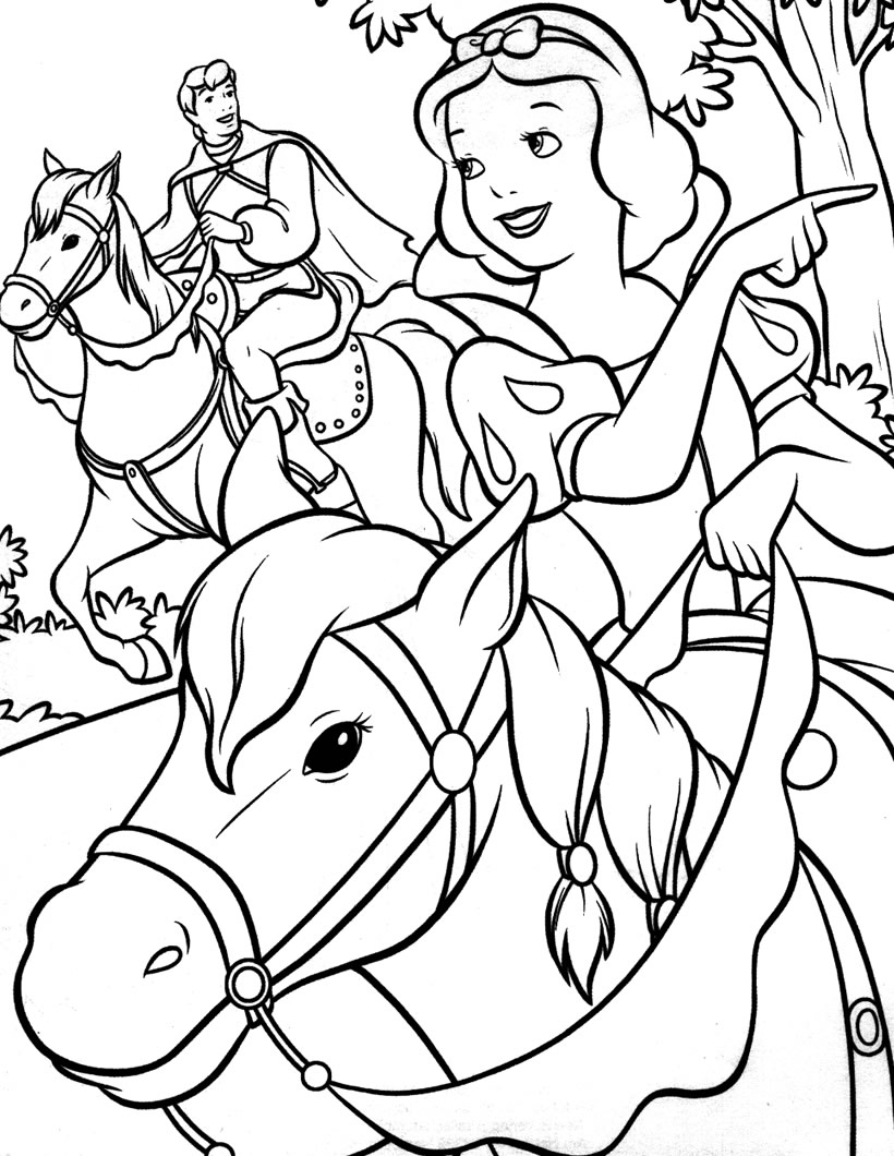 Cute free Snow White coloring page to download