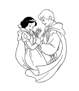 Coloring page snow white to color for children