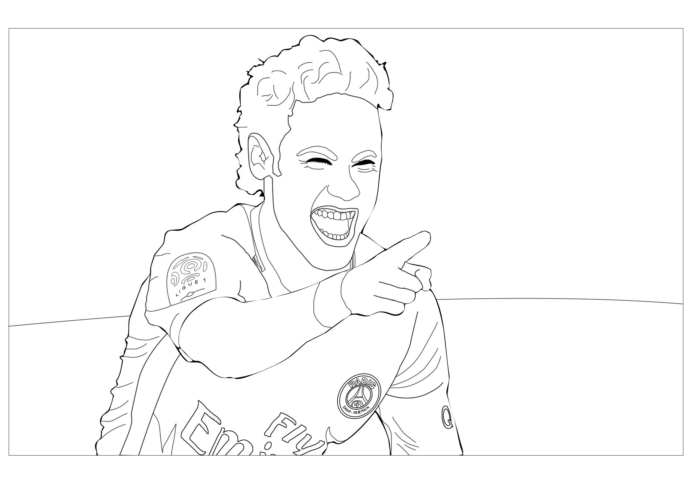 Soccer coloring page with few details for kids
