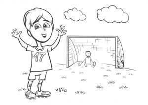 Coloring page soccer for kids