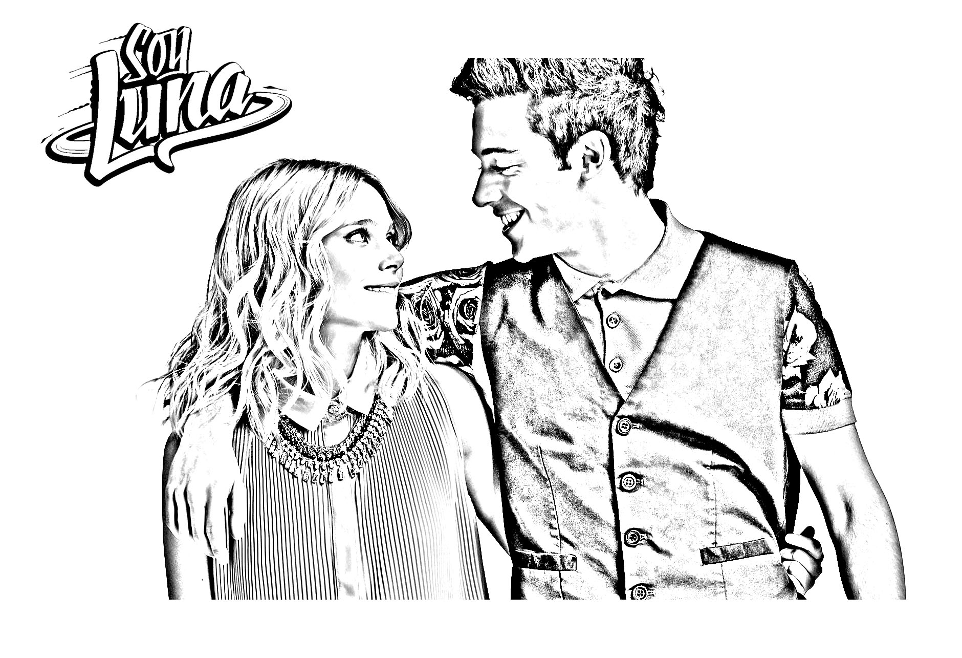 Simple Soy Luna coloring page for children