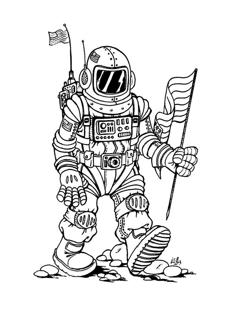 Space coloring page to print and color for free