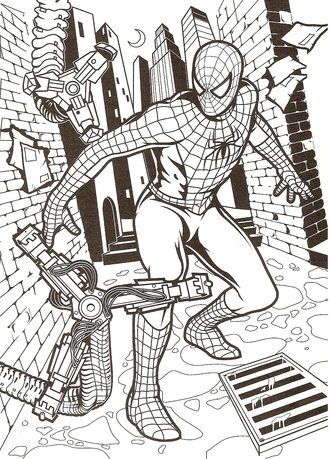 Simple Spiderman Coloring Page For Children