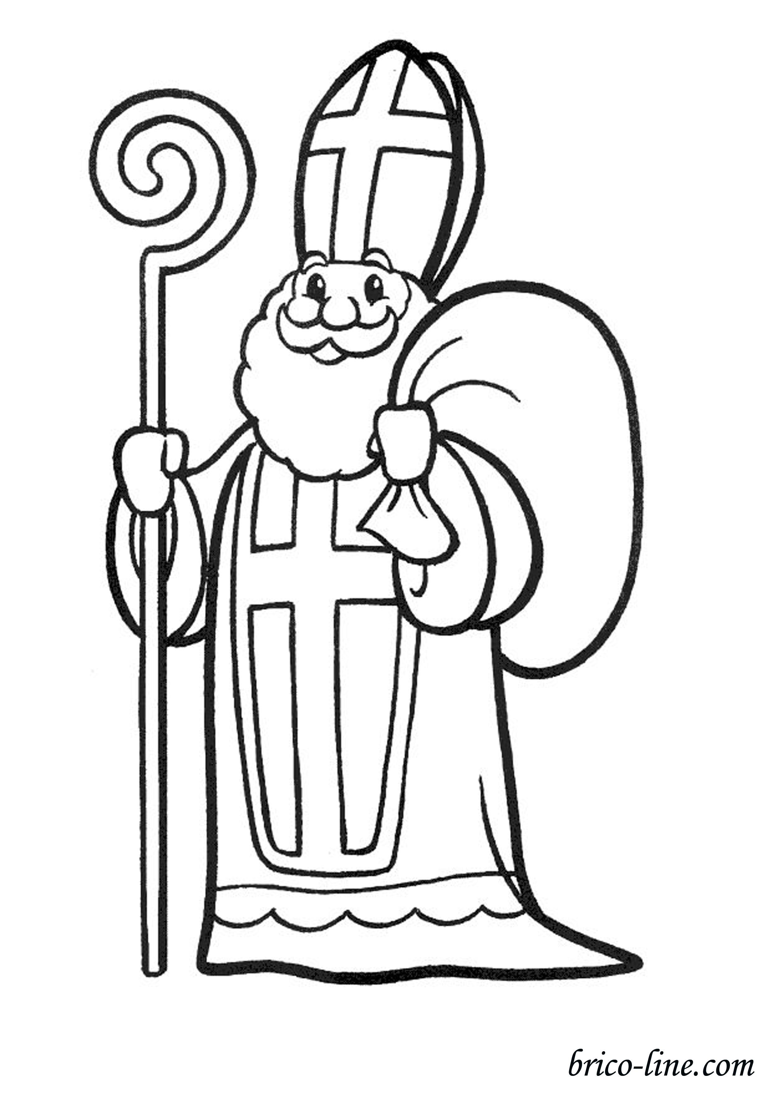 Funny free St Nicolas coloring page to print and color