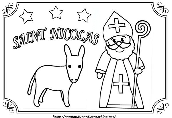 Simple St Nicolas coloring page to print and color for free