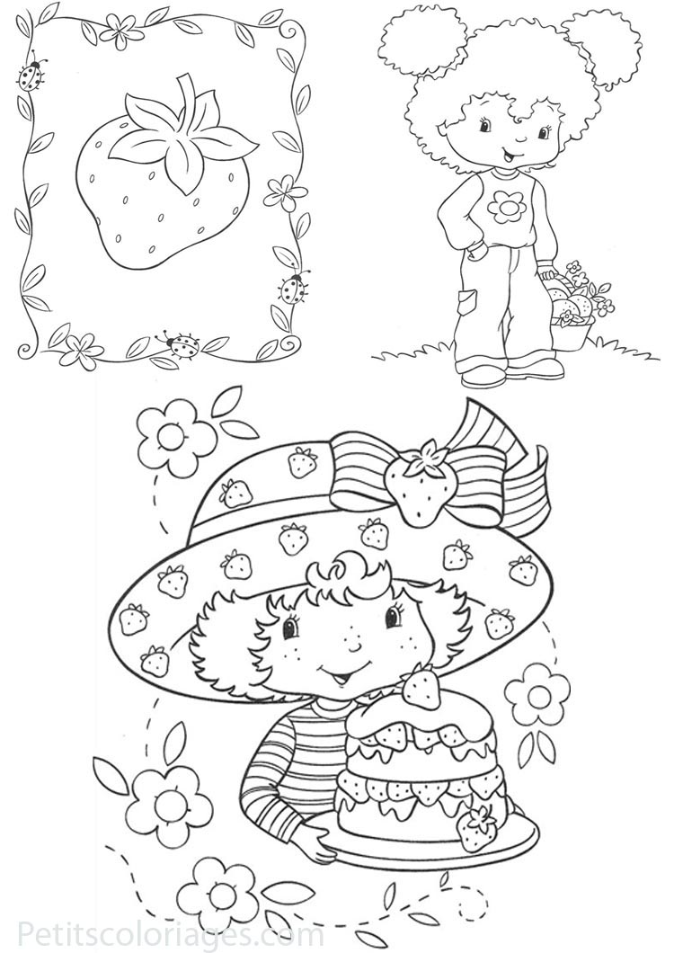Funny Strawberry Shortcake coloring page for kids
