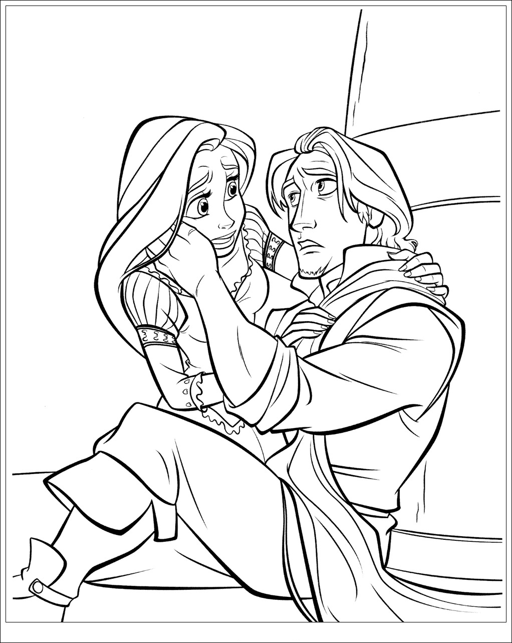 Printable Tangled coloring page to print and color for free : Rapunzel and Flynn Rider