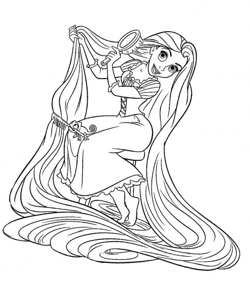 Tangled coloring page to download : Rapunzel is combing his hair