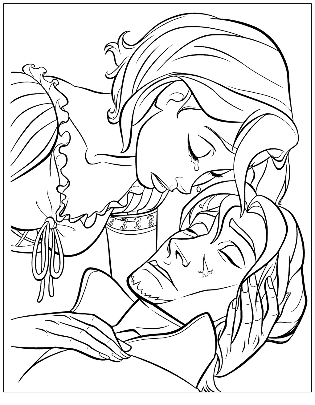 Free Tangled coloring page to print and color : Rapunzel crying, thinking Flynn Rider is dead