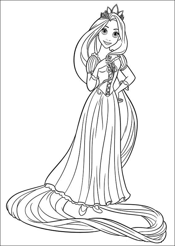 Printable Tangled coloring page to print and color with Rapunzel