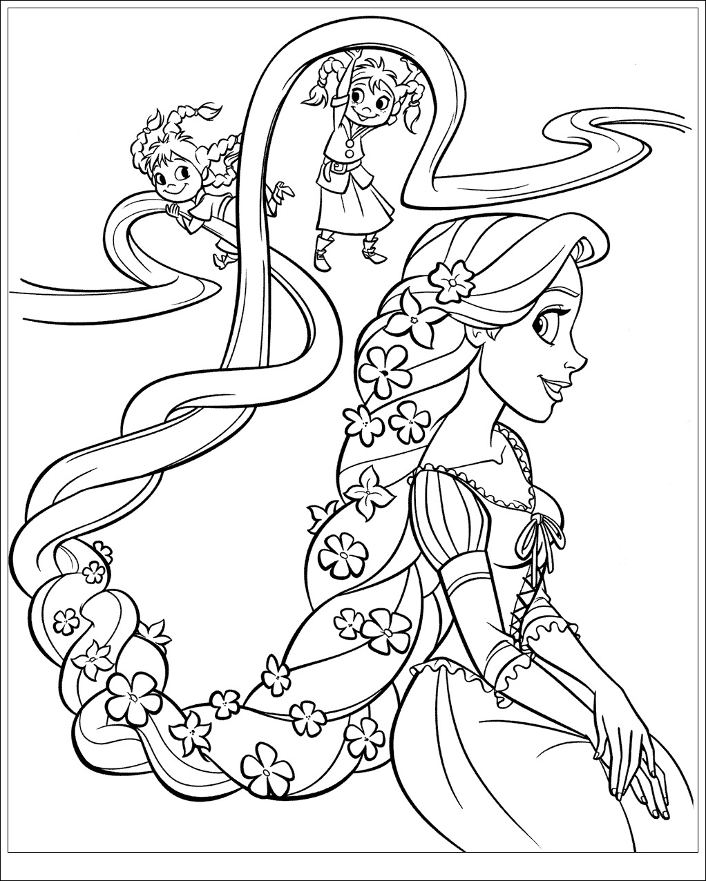 Tangled coloring page to download : Rapunzel with flowers in her hair