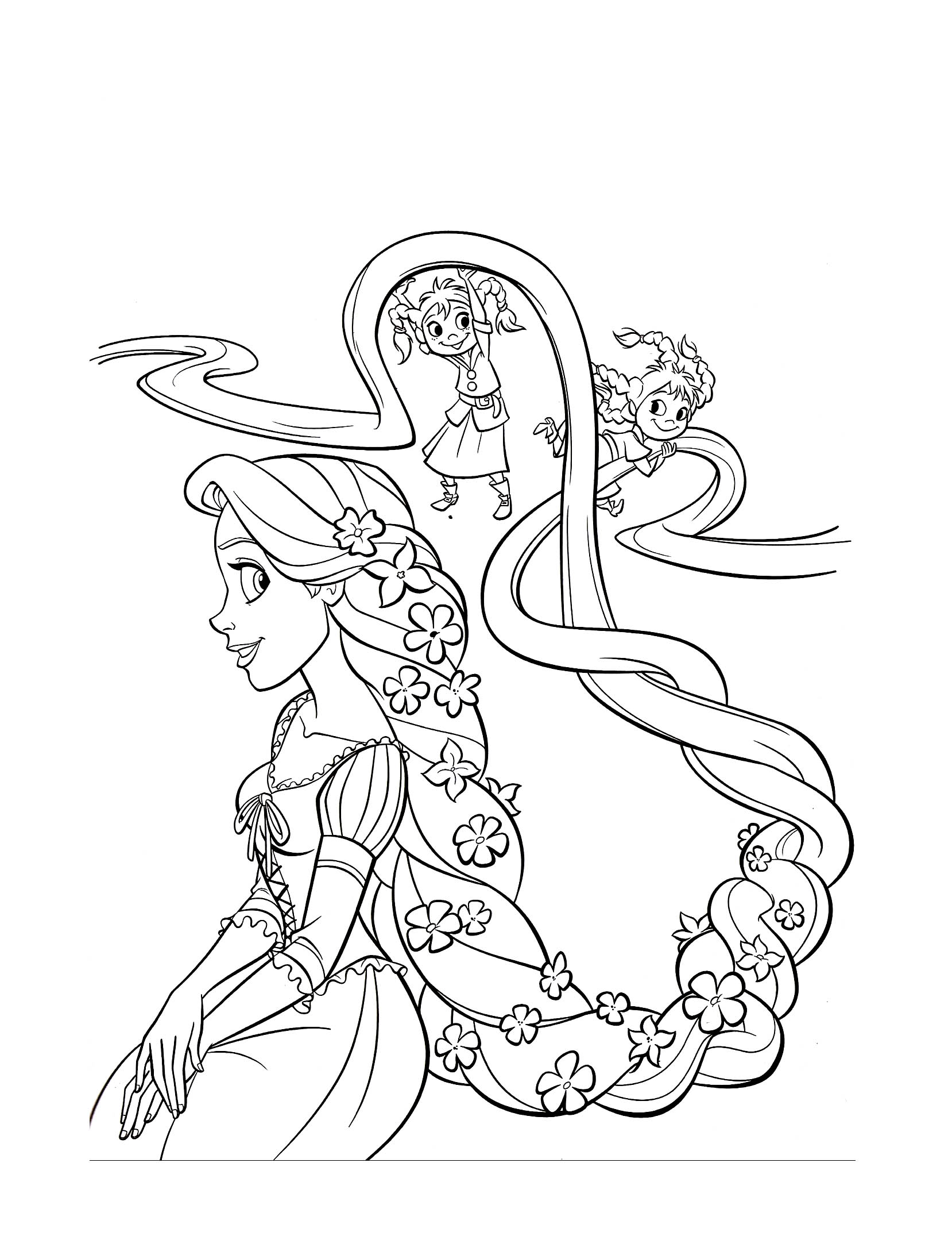 Free Tangled coloring page to download : Rapunzel (Tangled)