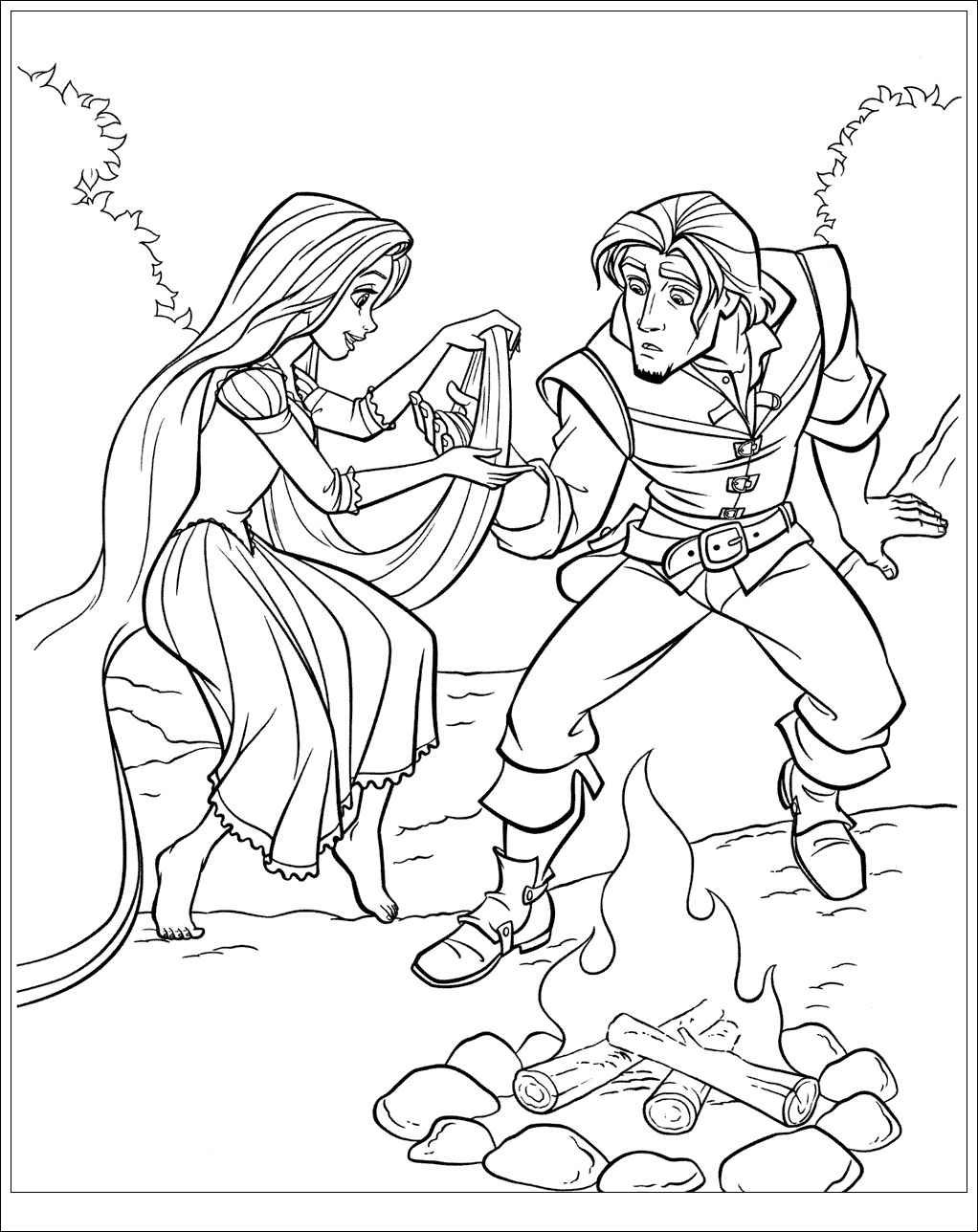 Simple Tangled coloring page to print and color for free, inspired by 2010 Disney movie